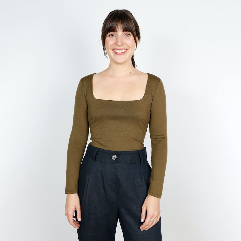 SQ crop Megan Nielsen Rowan Tee ZQ Merino by The Fabric Store