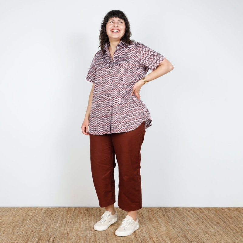 SQ Front Bloom Shirt in Cotton Print Cass Pant Make by TFS