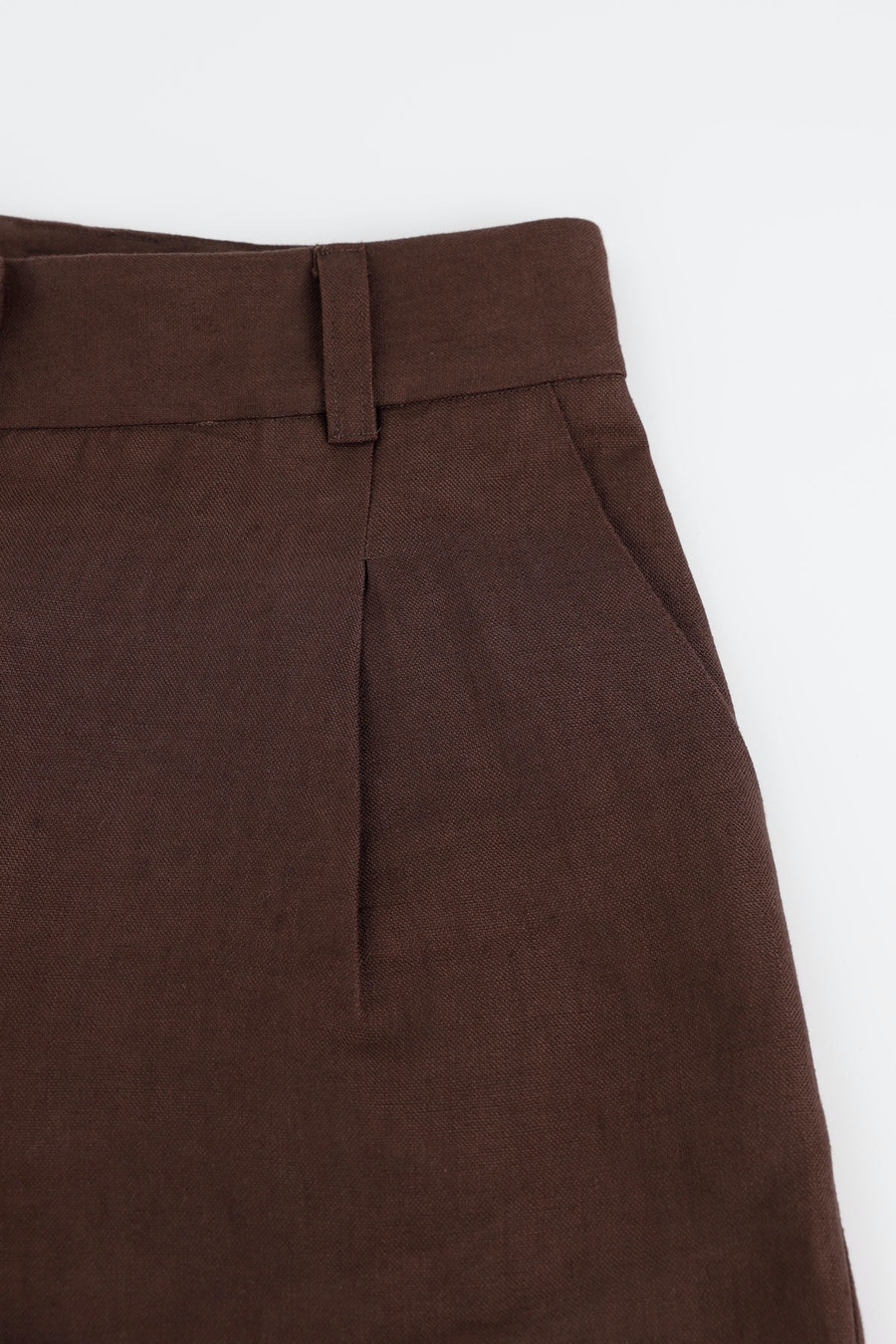Front Side Shorts Make by TFS Carob Heavyweight Linen