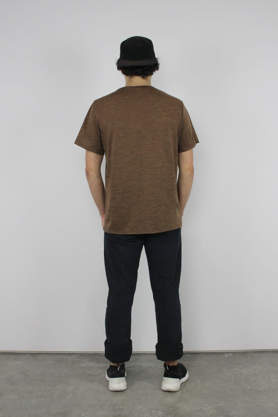 Elbe textiles sage merino tee shirt walnut marle back fabric by the fabric store