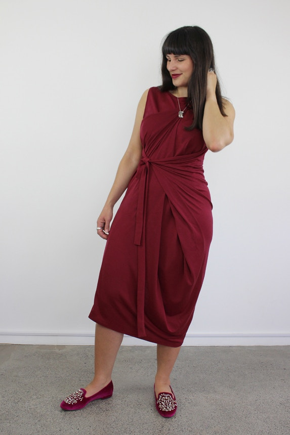 B kielo wrap dress named double fabric by the fabric store