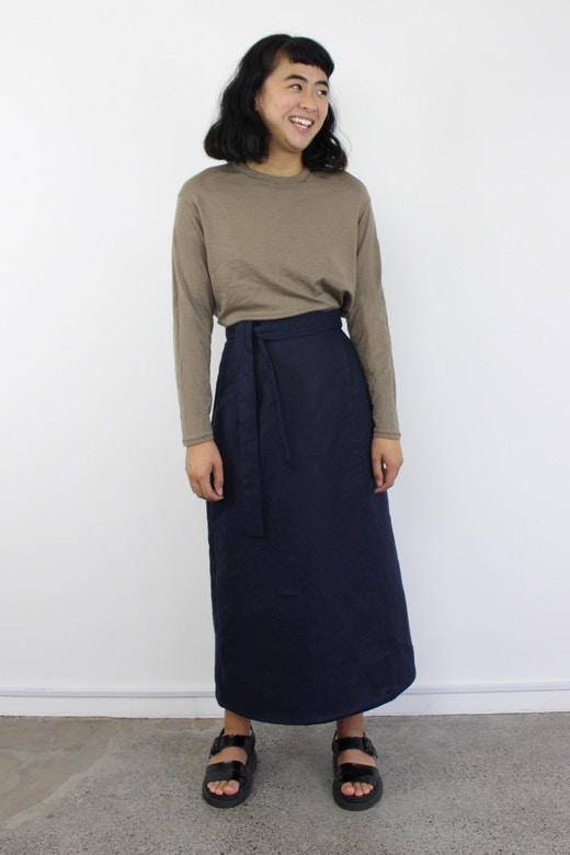B option 2 navy linen peppermint wrap skirt fabric by the fabric store