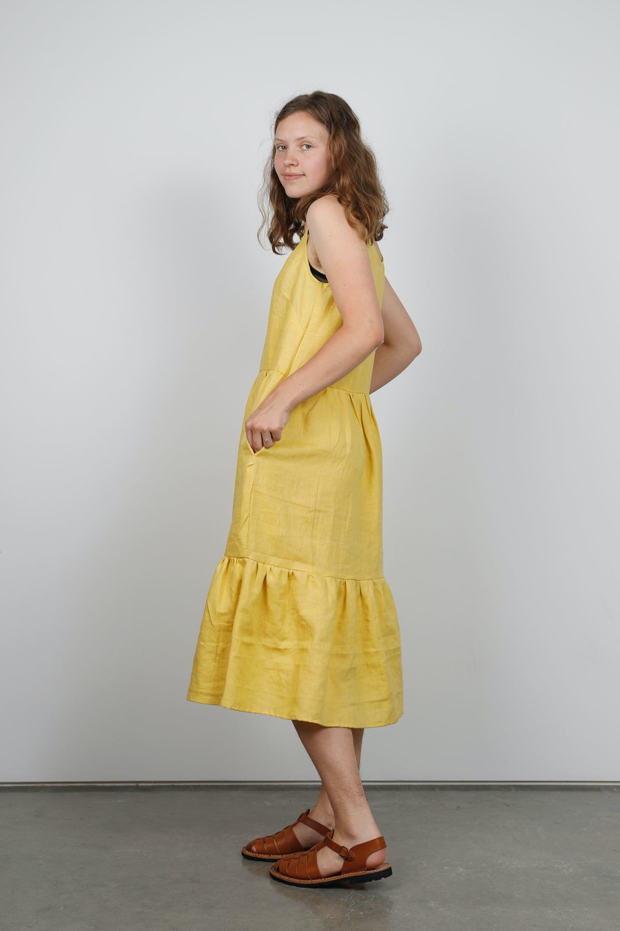 Side peppermint mag bardon dress buttercup linen by the fabric store