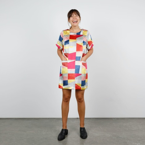 Paint Print Cielo Dress The Fabric Store Hero