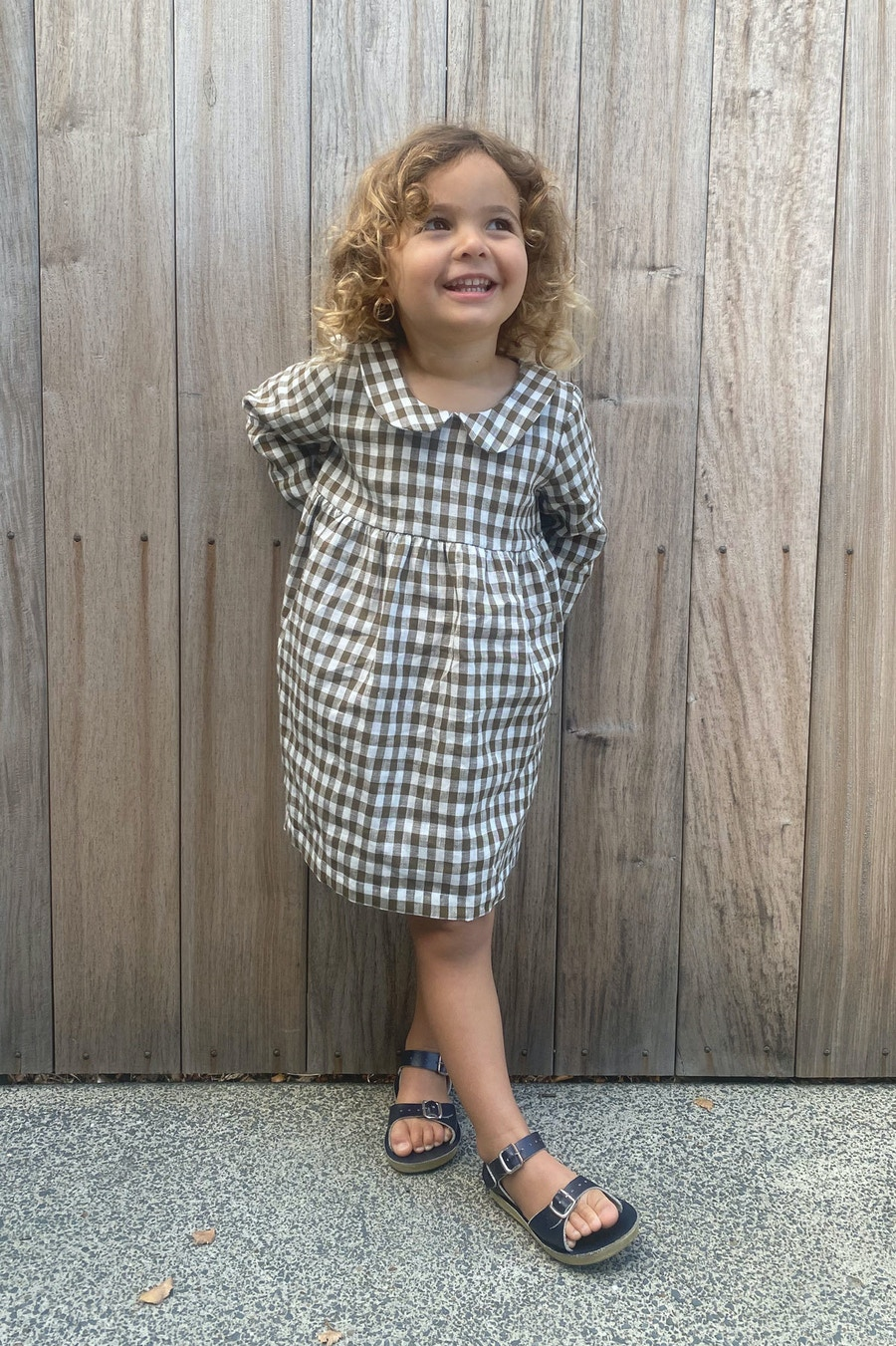 Outside Amy Dress Paper Doll Patterns Olive Gingham Linen Fabric By The Fabric Store