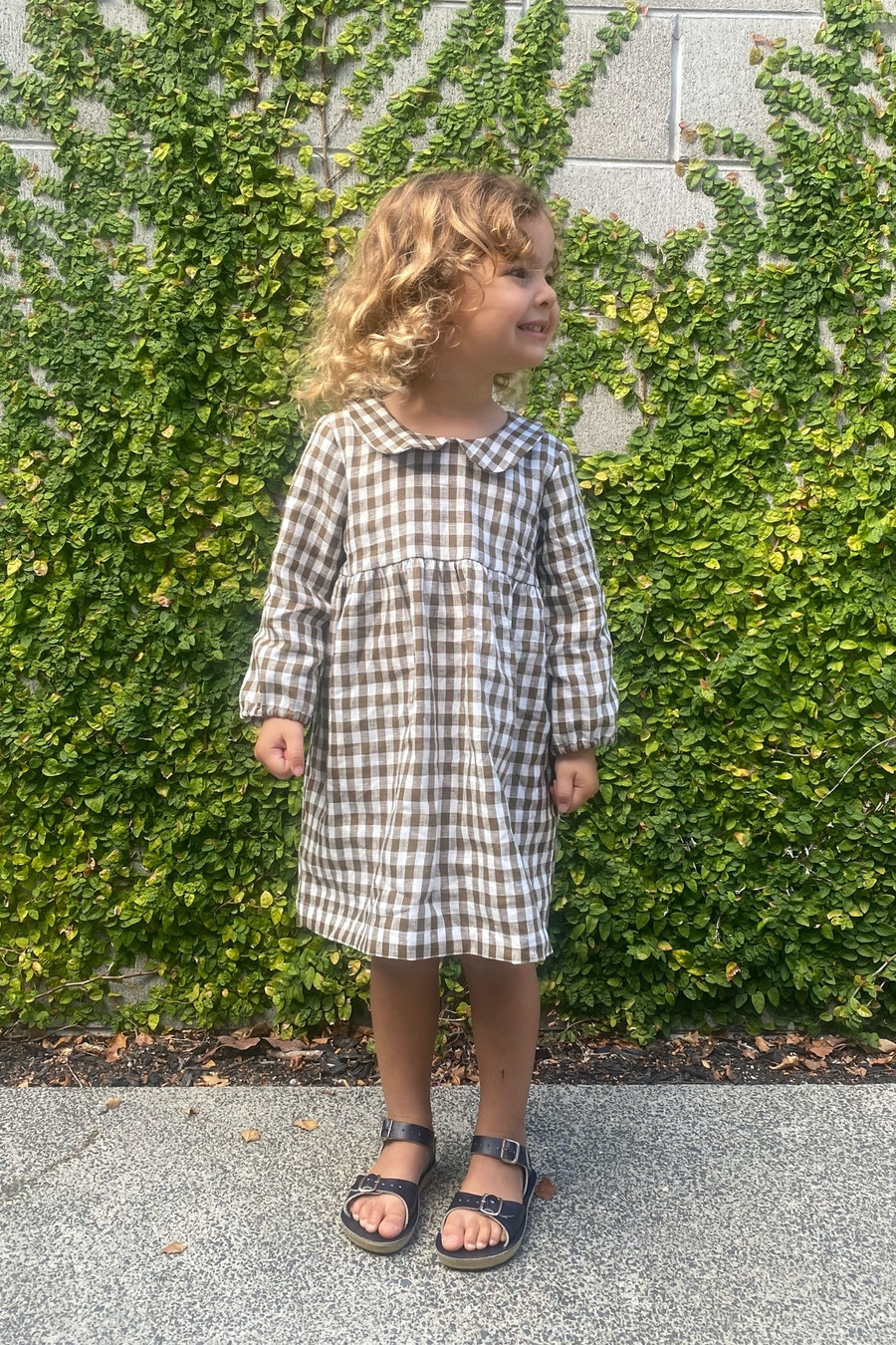 Side Amy Dress Paper Doll Patterns Olive Gingham Linen Fabric By The Fabric Store