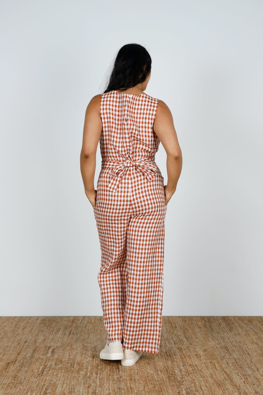 Back Mirri Jumpsuit Papercut Patterns Gingham Linen by The Fabric Store