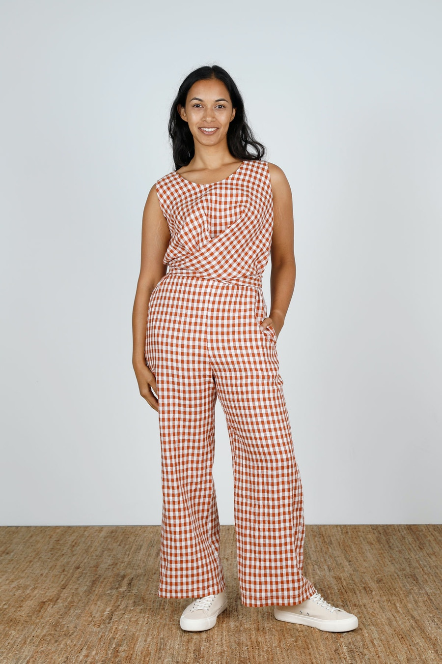 Front straight Mirri Jumpsuit Papercut Patterns Gingham Linen by The Fabric Store