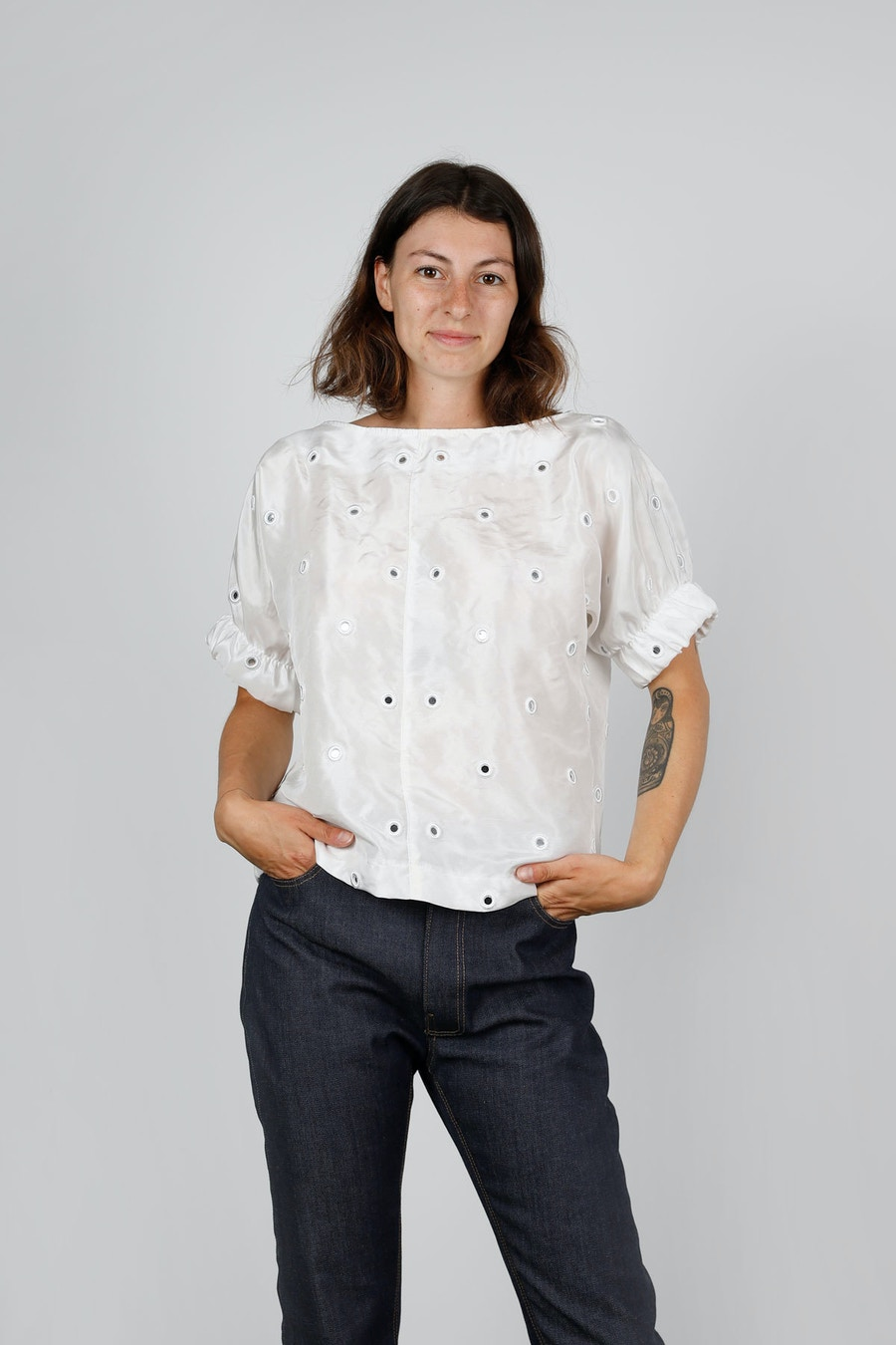 SQ TAL Cuff Top front Mirrored Silk Special by The Fabric Store